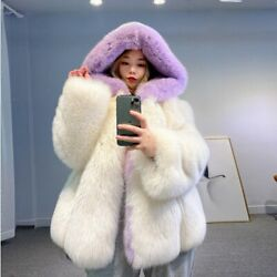 Winter Womenand039s Real Natural White Fox Fur Jacket Hooded Color Mixing Thick Coat