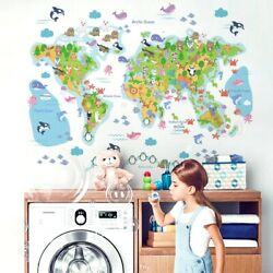 World Map Wall Stickers For Kids Rooms Bedroom Decor Mural For House Home Decor