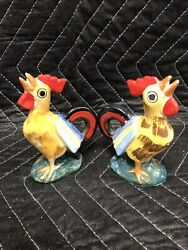 Unique Vintage JAPAN Rooster Chick Chicken Salt and Pepper Shakers