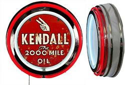 Kendall 2000 Oil Sign Distressed Rusty Look Neon Sign, Red Outside Neon No Clock