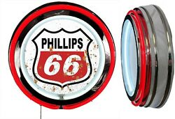 Phillips 66 Logo In A Distressed Rusty Looking Sign Neon Sign Red Neon No Clock