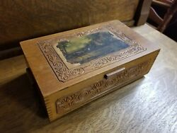 Antique Wooden Glove Box Safe Keeping Dresser Top Box W. Hinged Painted Lid