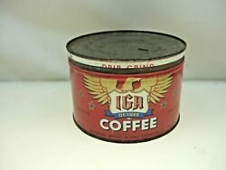 Vintage 50's Iga Deluxe Coffee Tin Can With Lid Usa