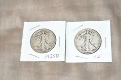 1935d And 1935 Walking Liberty Half Dollar Silver Coin Lot Of 2 Coins   007