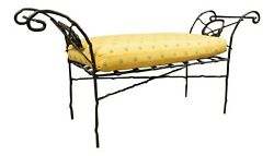 Wrought Iron Cushioned Bench With Laurel Wreath Motif
