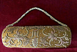 PURSE DRESSY EVENING GOLD BROWN EMBELLISHED BEADED DRAP BRAND MADE SPAIN ROUND $12.99
