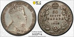 Canada 50 Cents 1910 - Victorian Leaves - Pcgs Au50
