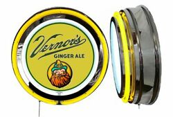 Vernor's Ginger Ale Sign Neon Sign Yellow Neon Chrome No Clock Soda Pop Vernors