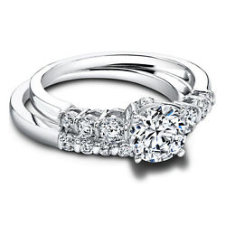 1.10 Ct Real Diamond Engagement Ring 14k Solid White Gold Band Set Size 5 7 9