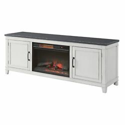 70 Inch Wooden Tv Stand With Electric Fireplace, Gray And Antique White