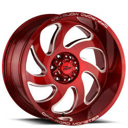 4 24 Off Road Monster Wheels M07 Candy Apple Red Milled Rims B41