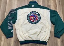 Rare Vintage 90's Starter Usa Olympics Track And Field Spell Out Jacket Sz L