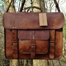 Bag Real Leather Messenger Shoulder Men Mens Laptop Satchel Handbag S Brown New $49.00