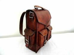 Backpack Rucksack Messenger Bag Men#x27;s Genuine Leather Vintage Laptop Satchel $48.00