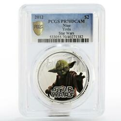 Niue 2 Dollars Star Wars The Master Yoda Pr-70 Pcgs Proof Silver Coin 2012