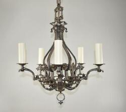 Antique Five Arm Gothic Revival Chandelier In Wrought Iron Pewter Finish