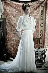 Vintage Victorian Inspired Ivory Lace And Chiffon Wedding Dress Bridal Gown