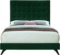 Contemporary Bedroom Furniture Green Velvet 1p Twin Size Bed Deep Button Tufting