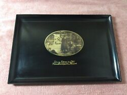 Vintage Couroc Monterey Ca Brass Wood Inlay Tray Drug Store Old Kennebunkport Me