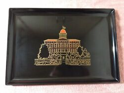 Vintage Couroc Monterey California Inlaid Tray Old State Capitol Springfield Ill