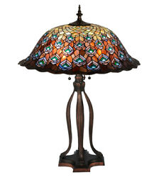 Style Peacock Feather Table Lamp W Stained Glass Lamp Shade