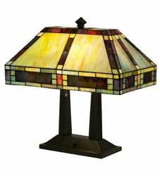 Bankers Desk Lamp W Mission Style Stained Glass Lamp Shade
