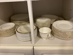 Wedgwood Bone Chine Crown Gold72 Piece Set Perfect Condition