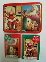 New 1995 Coca Cola Collector Vintage Playing Cards Double Deck Tin Case