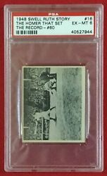 Psa Ex-mt 6 Babe Ruth 1948 Swell Ruth Story 16 The Homer That Set The Record