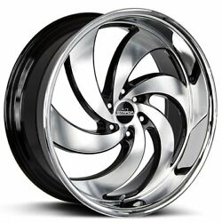 24 Strada Wheels Retro 6 Black With Machined Face And Ss Lip Rims B42