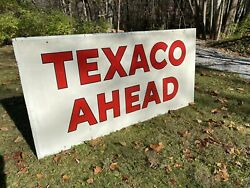 Original 4andrsquox 8andrsquo Texaco Ahead Highway Sign With Reflective Paint Marked 1960