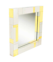 Brass And Chrome Mid Century Modern Square Cityscape Wall Mirror After Paul Evans