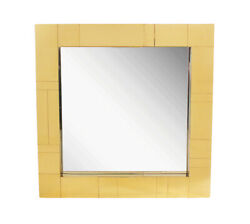 Brass / Gold Mid Century Modern Square Cityscape Wall Mirror After Paul Evans