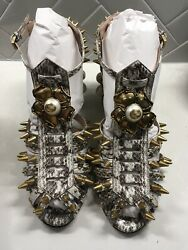 Elaphe Radiata Snake Skin Sandals With Spikes And Pearls 38