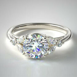 Round 0.80 Ct Real Diamond Womenand039s Ring Fine 14k White Gold Rings Size 5 6 7 8