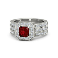 1.18 Ct Natural Ruby Gemstone Real Diamond Ring 18k Solid White Gold Size 6 7 8