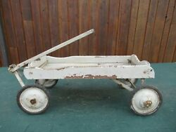 Antique Child Wood Wagon Pull Toy In Great Condition Has 4 Rubber Wheels Great