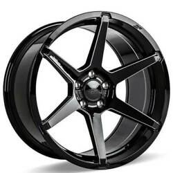 4 19 Staggered Ace Alloy Wheels Aff06 Gloss Black With Milled Accentsb43