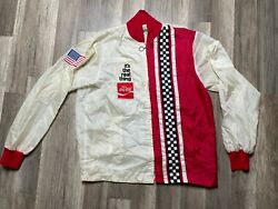 Vtg 70's Coca-cola Nascar Its The Real Thing Checkered Flag White Red Jacket Xl