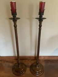 Ornate Carved Wood Standing Sanctuary Lamps W/antique Box Of Red Glass Candles