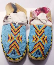Vintage Authentic Full Beaded Moccasins Blue Native American Indian 11