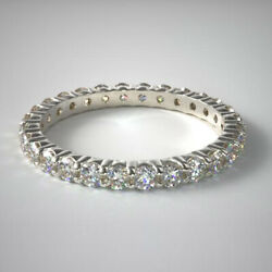 Fine 18k White Gold Ring 1.47 Ct Real Diamond Womenand039s Eternity Band Size 5 6 7 8