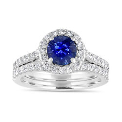 2.1 Ct Diamond Real Blue Sapphire Gemstone Ring Set Solid Solid 14k White Gold 7