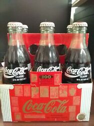 1996 Olympics 100 Years Coca-cola Classic Full 8oz Glass Bottle 6pk And Carry Case