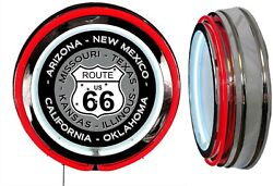 Us Route 66 States Sign Neon Sign Red Outside Neon No Clock Ca Ok Mo Az Nm Il