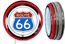 Route 66 Red White Blue Sign Neon Sign Red Outside Neon No Clock Usa America