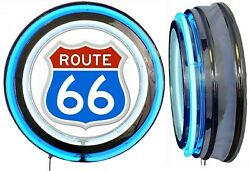 Route 66 Red White Blue Sign Neon Sign Blue Outside Neon No Clock Usa America