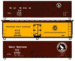 Ho Scale - Accurail 8110 Great Northern 40' Wood Reefer And Boxcar 3-pack - Kits