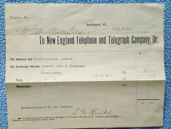 1896 New England Telephone And Telegraph Co. Monthly Bill Brattleboro, Vermont