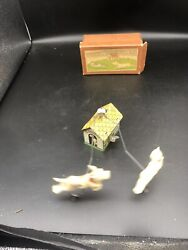 Rare 1930and039s Japan Tin And Celluloid Prewar Wind Up Toy W/box Works